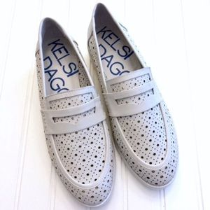 Kelsi Dagger perforated white leather penny loafer